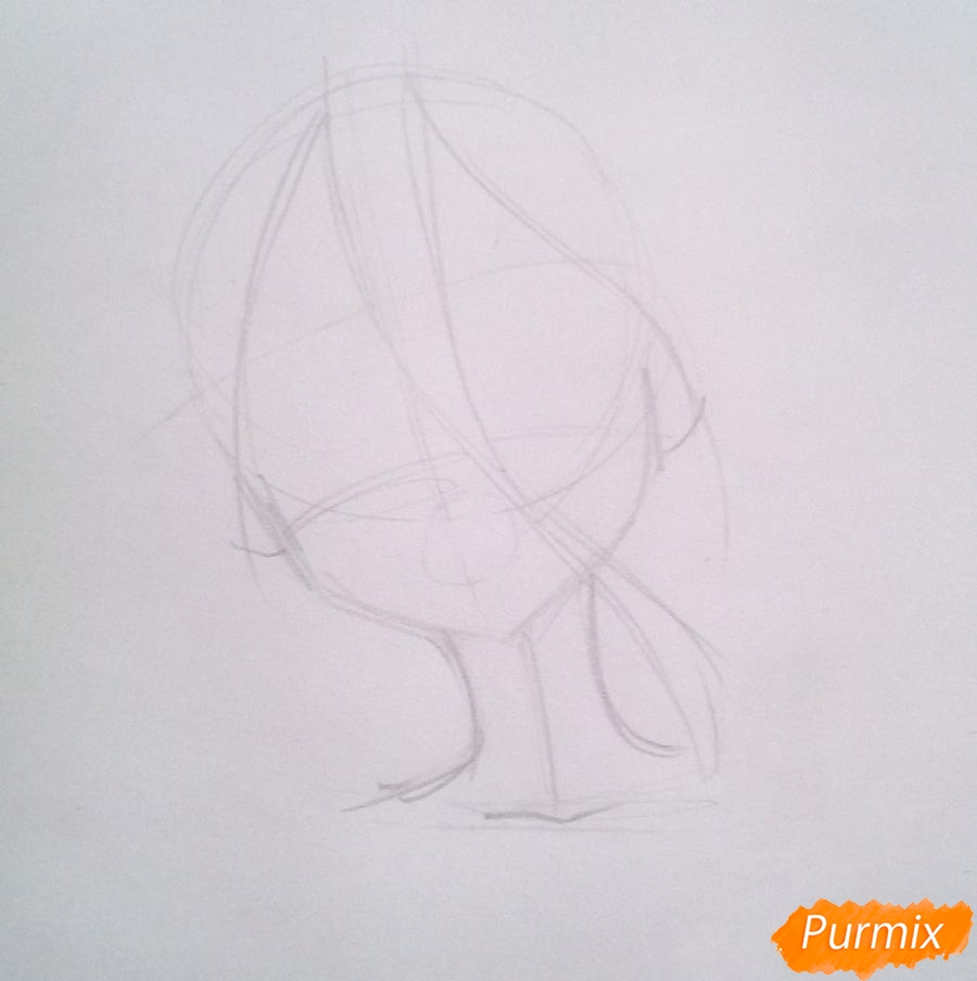 Рисуем маленькую Зеро Ту из аниме Милый Во Франксе карандашами - шаг 1