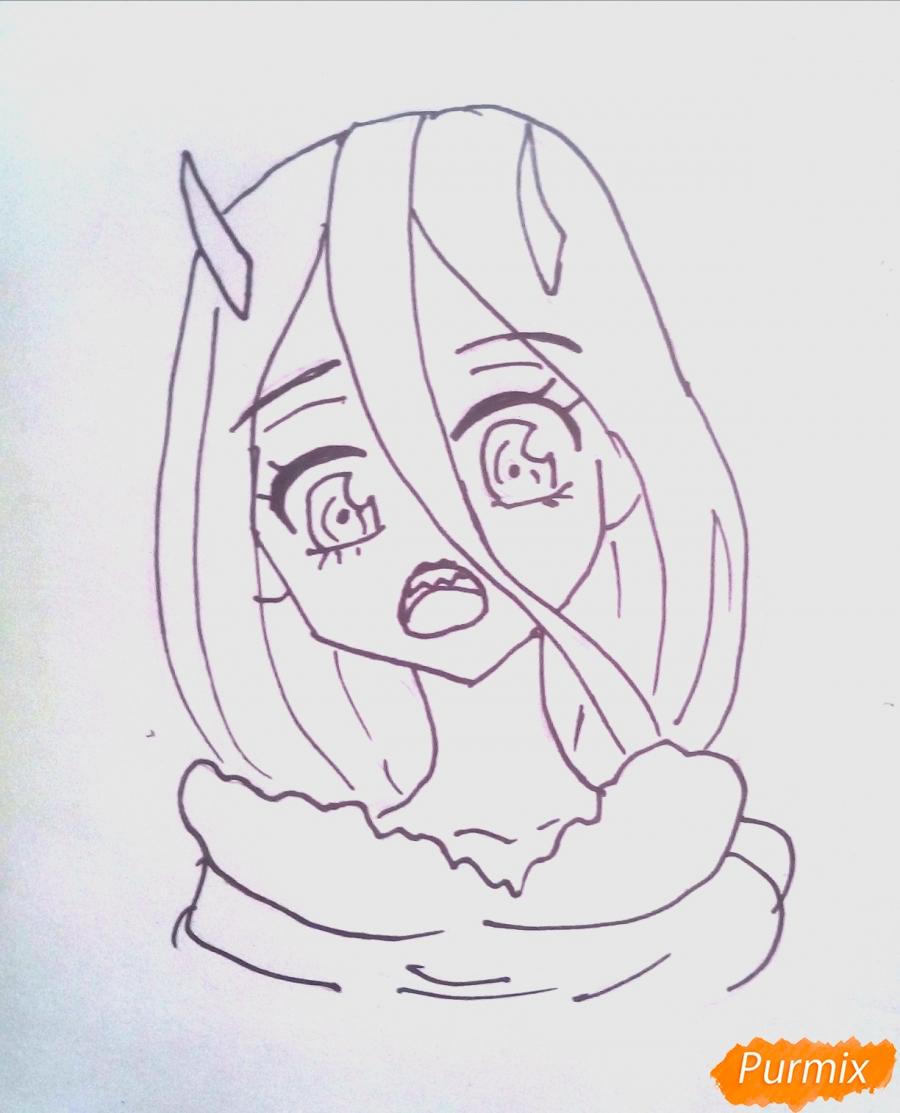 Рисуем маленькую Зеро Ту из аниме Милый Во Франксе карандашами - шаг 5