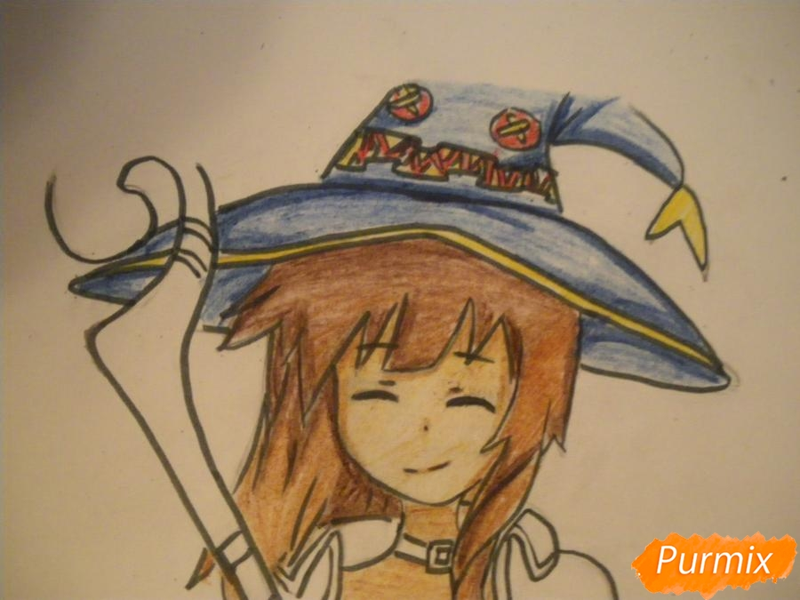 Рисуем Мегумин из аниме Богиня благословляет этот замечательный мир - шаг 10