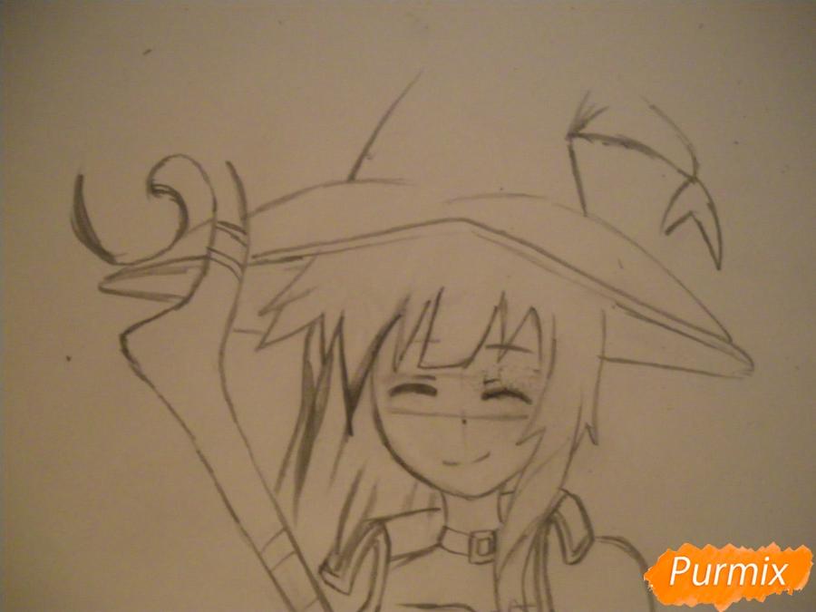Рисуем Мегумин из аниме Богиня благословляет этот замечательный мир - фото 5