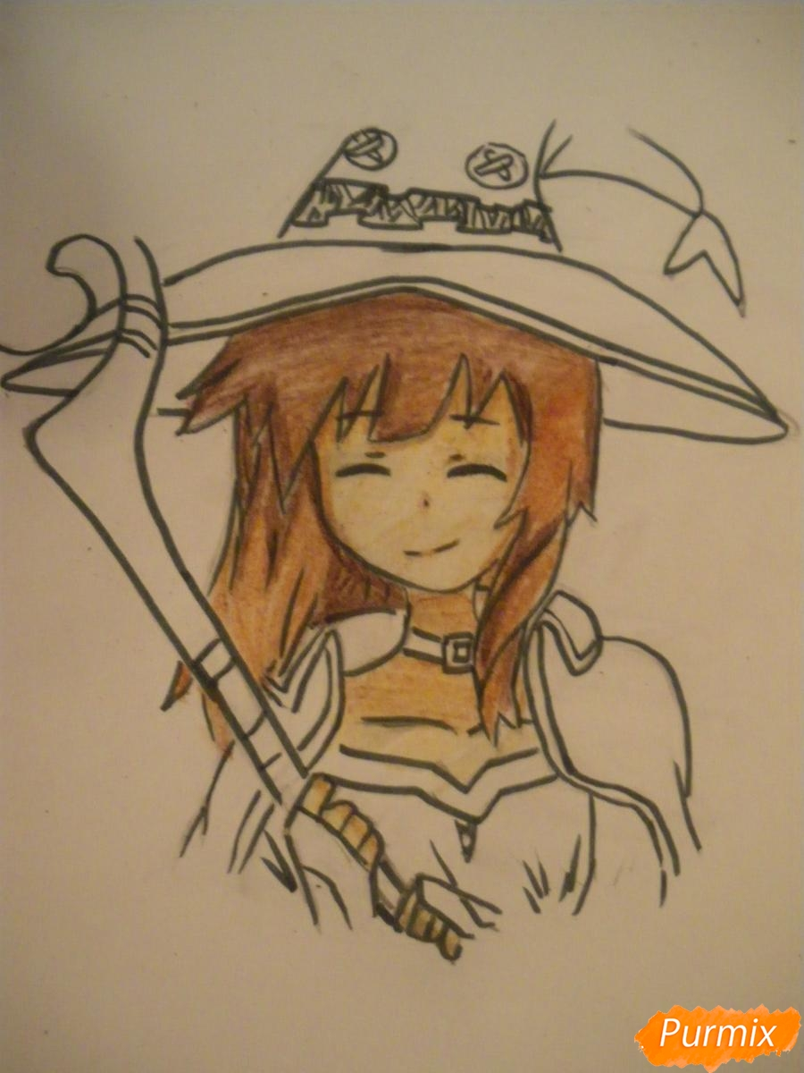 Рисуем Мегумин из аниме Богиня благословляет этот замечательный мир - шаг 9
