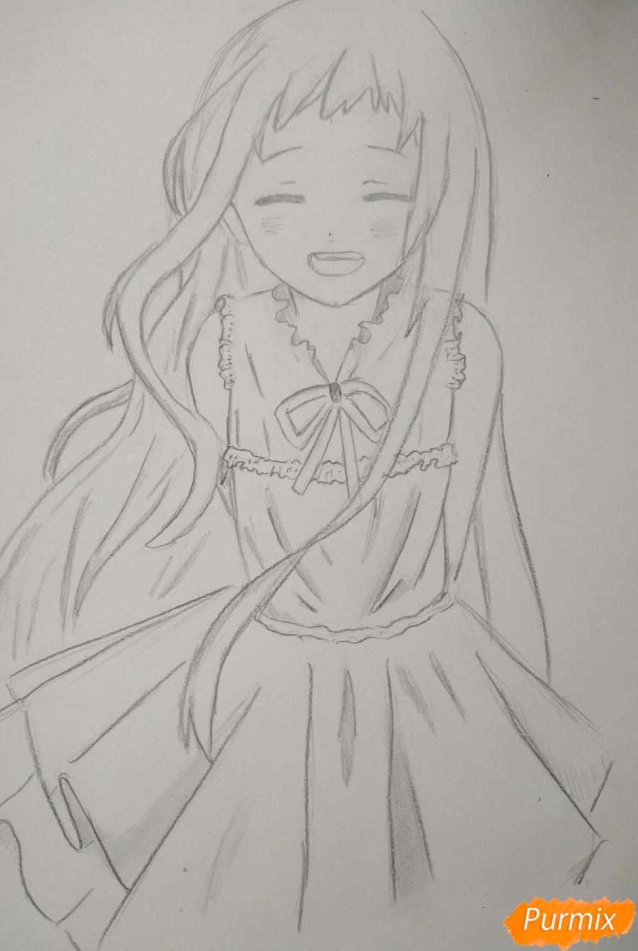 Как нарисовать Менму из аниме Невиданный цветок карандашом поэтапно