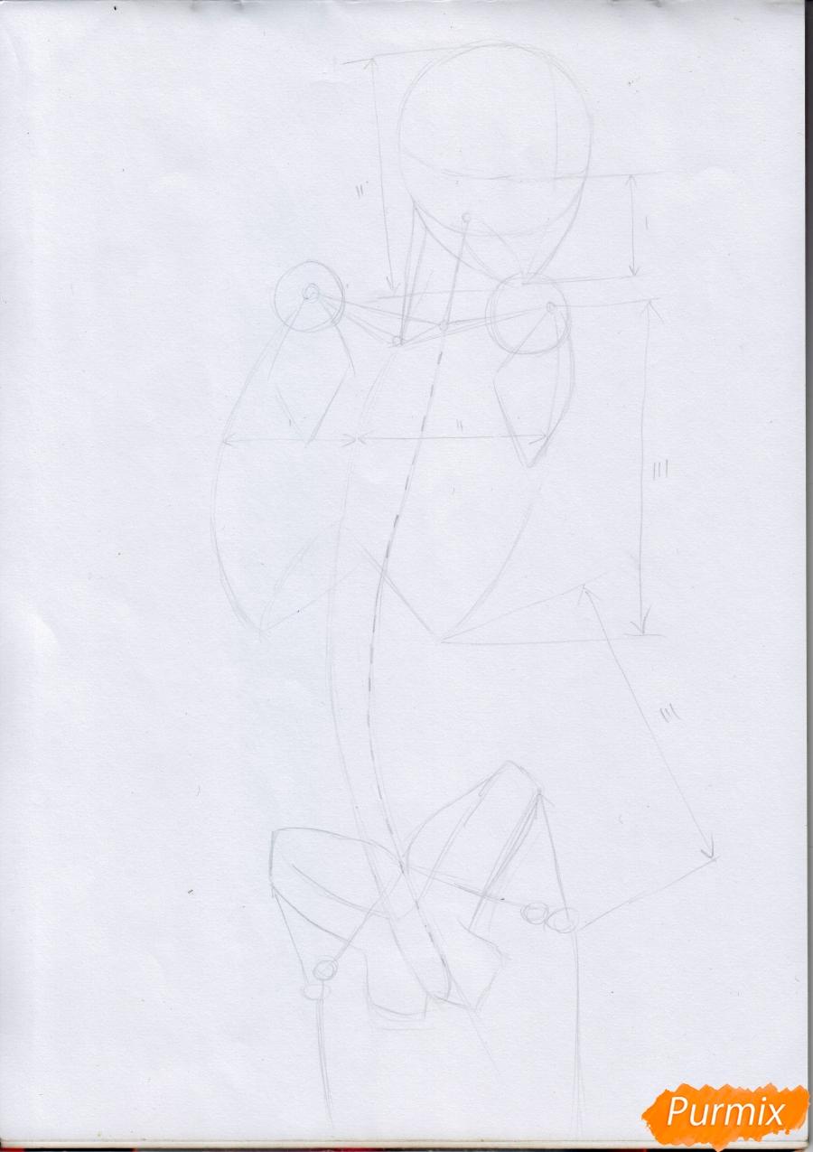 Рисуем Микасу из Атака Титанов в случайной позе - шаг 3
