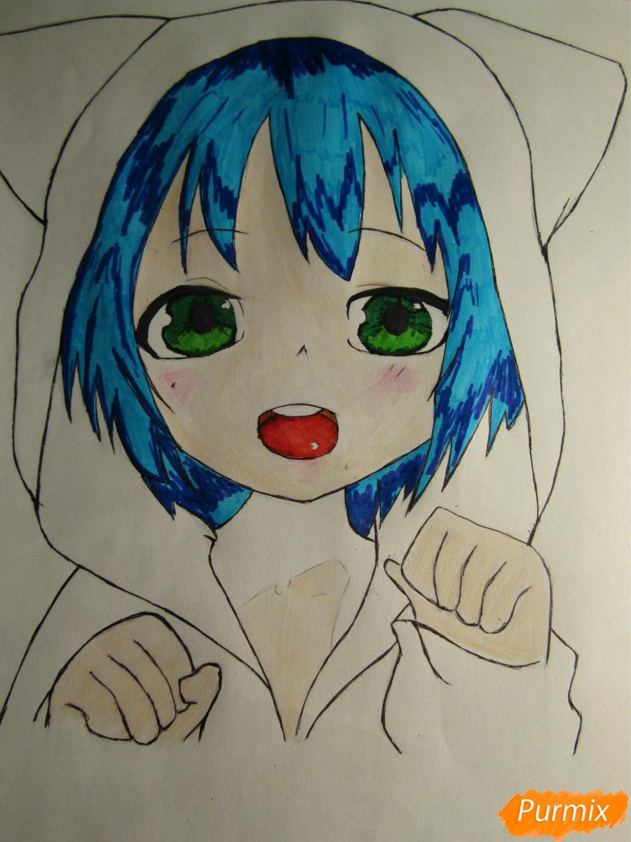Рисуем миленького мальчика в стиле аниме карандашами и фломастерами - шаг 7