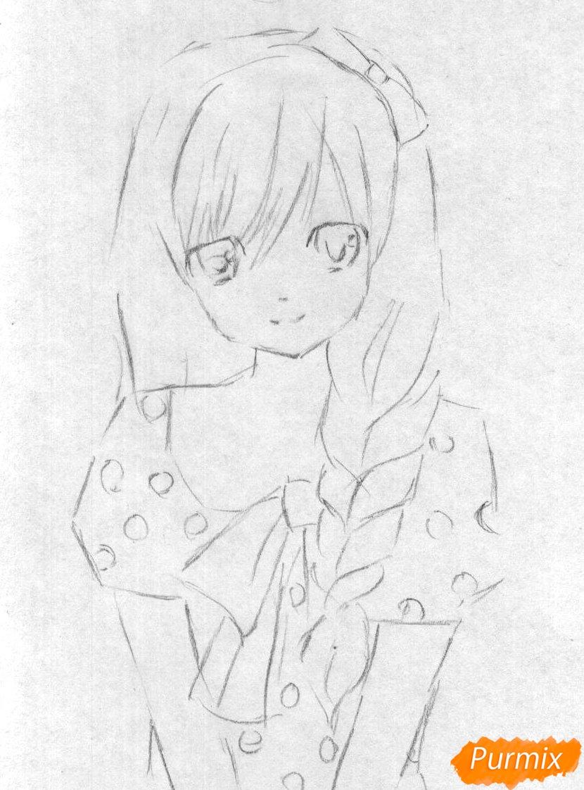 Рисуем милую аниме девушку (вариант 2) - шаг 1