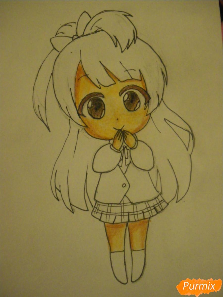 Рисуем Минами Котори в стиле чиби из аниме Живая любовь - шаг 10