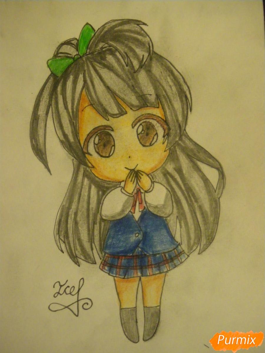 Как нарисовать Минами Котори в стиле чиби из аниме Живая любовь
