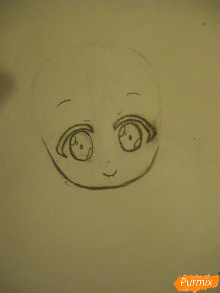 Рисуем Минами Котори в стиле чиби из аниме Живая любовь - шаг 2