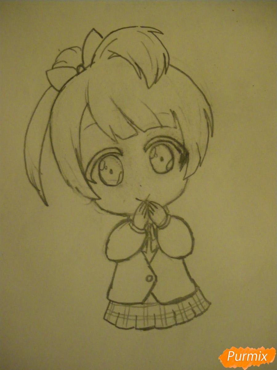 Рисуем Минами Котори в стиле чиби из аниме Живая любовь - шаг 5