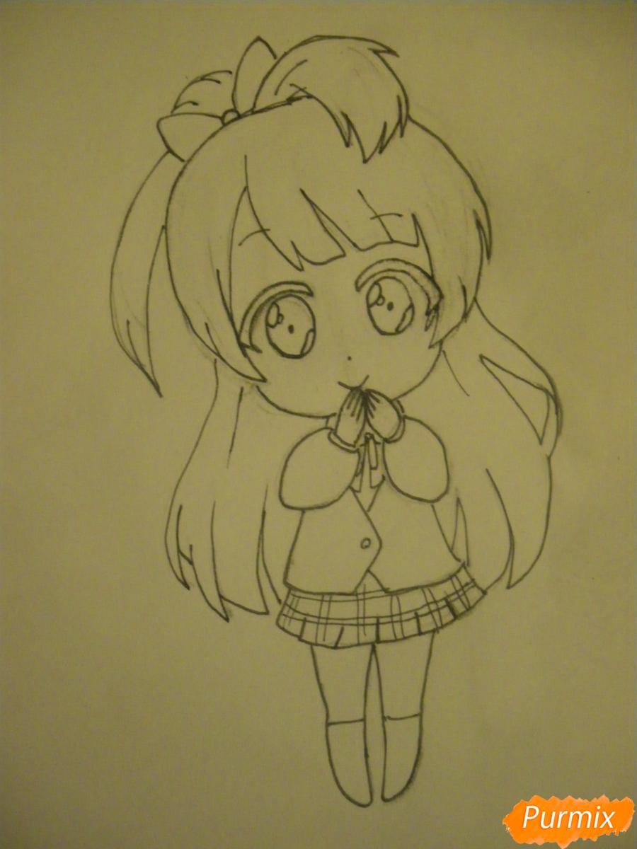 Рисуем Минами Котори в стиле чиби из аниме Живая любовь - шаг 8