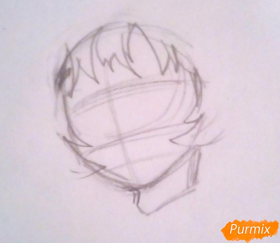Рисуем Мину Ашидо из аниме Моя Геройская Академия - шаг 1