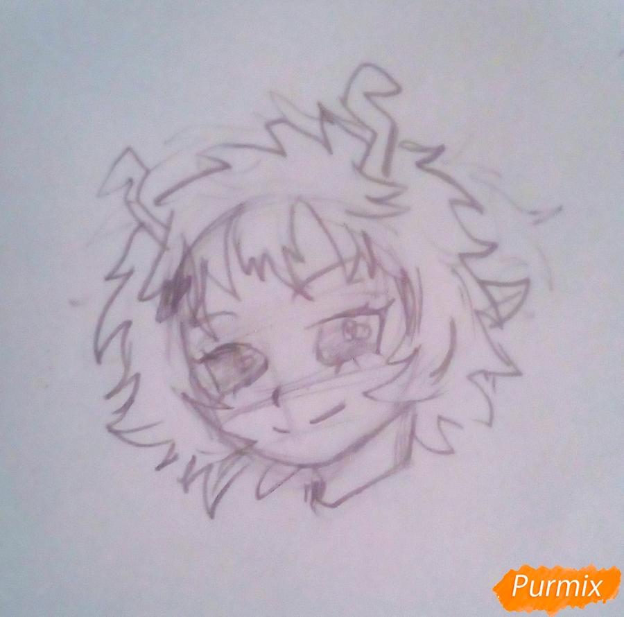 Рисуем Мину Ашидо из аниме Моя Геройская Академия - шаг 3