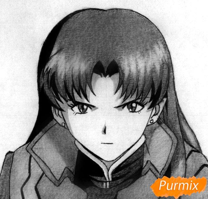 Как нарисовать Мисато Кацураги аниме Евангелион карандашом поэтапно