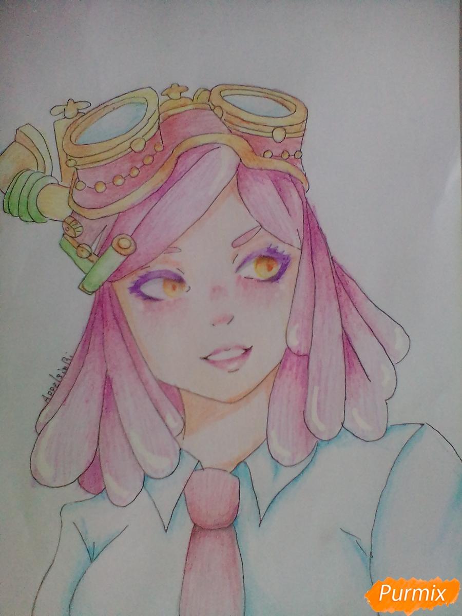 Как нарисовать Мэй Хатсуме из аниме Моя Геройская Академия карандашом поэтапно