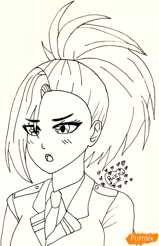 Рисуем Момо Яойорозу из аниме моя Геройская Академия - фото 5