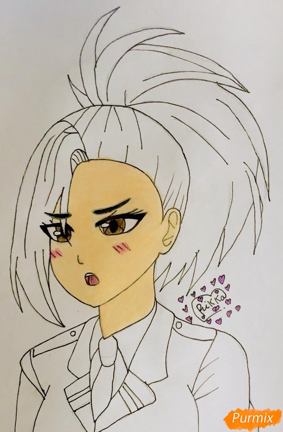 Рисуем Момо Яойорозу из аниме моя Геройская Академия - фото 6