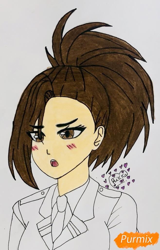 Рисуем Момо Яойорозу из аниме моя Геройская Академия - фото 7