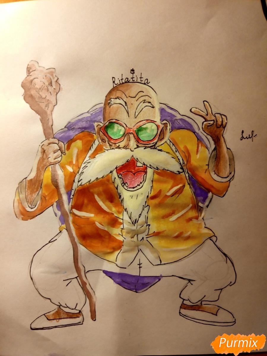 Рисуем Мутена Роши из аниме Драконий жемчуг - фото 10
