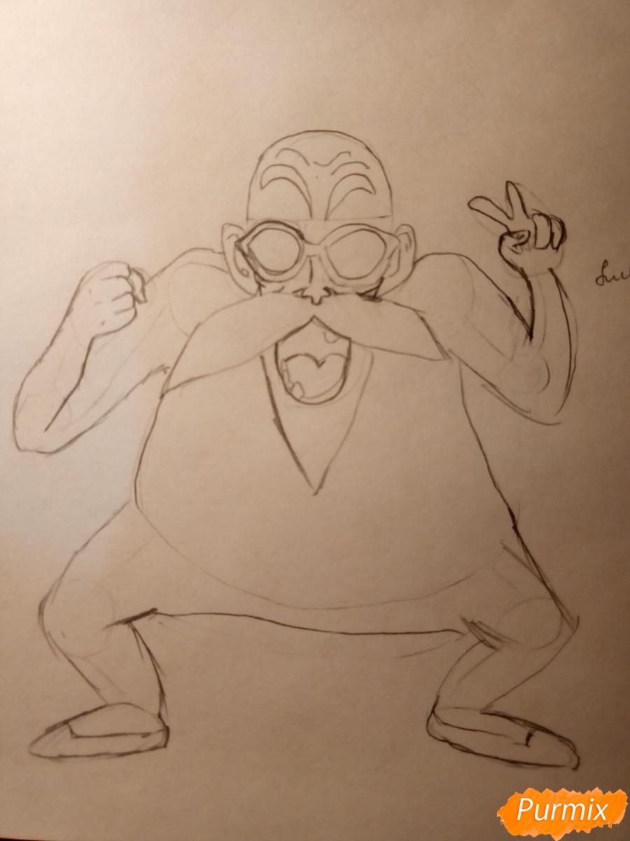 Рисуем Мутена Роши из аниме Драконий жемчуг - фото 4