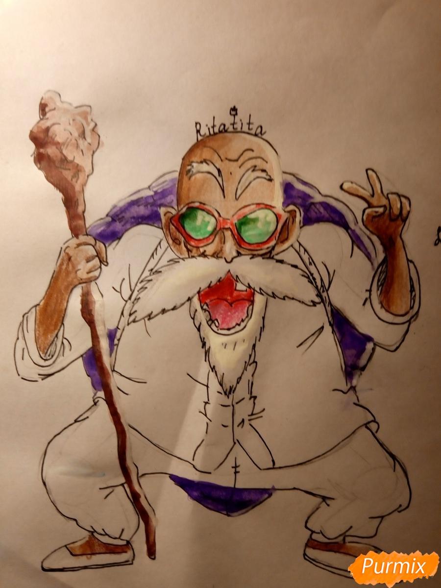 Рисуем Мутена Роши из аниме Драконий жемчуг - фото 9