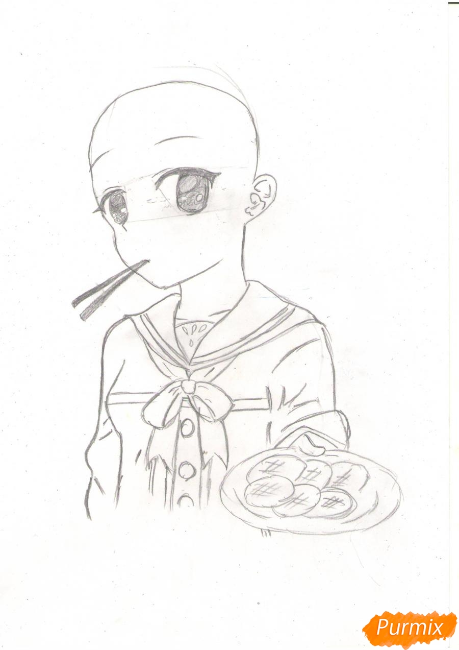 Рисуем Нао из аниме Шарлотта карандашами - фото 3