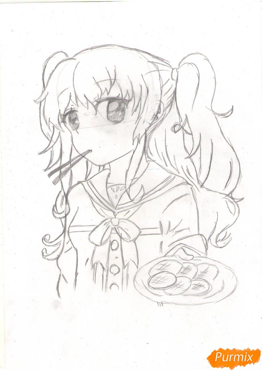 Рисуем Нао из аниме Шарлотта карандашами - фото 4