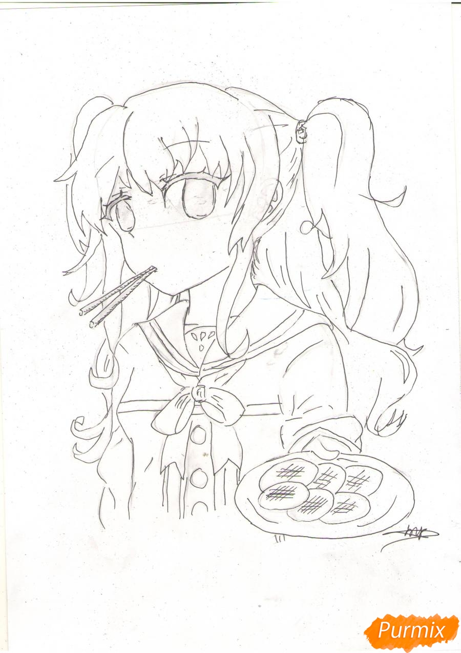 Рисуем Нао из аниме Шарлотта карандашами - фото 5