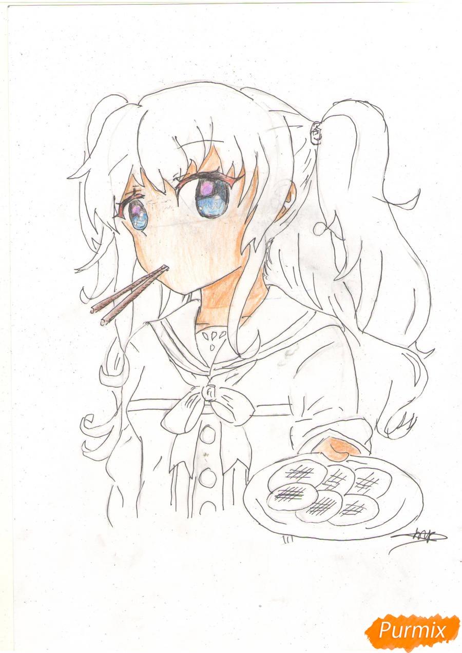 Рисуем Нао из аниме Шарлотта карандашами - фото 6