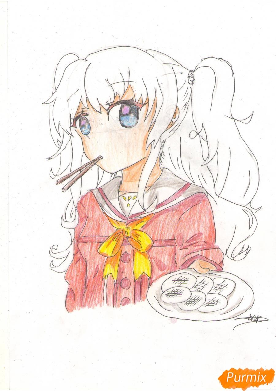 Рисуем Нао из аниме Шарлотта карандашами - фото 7