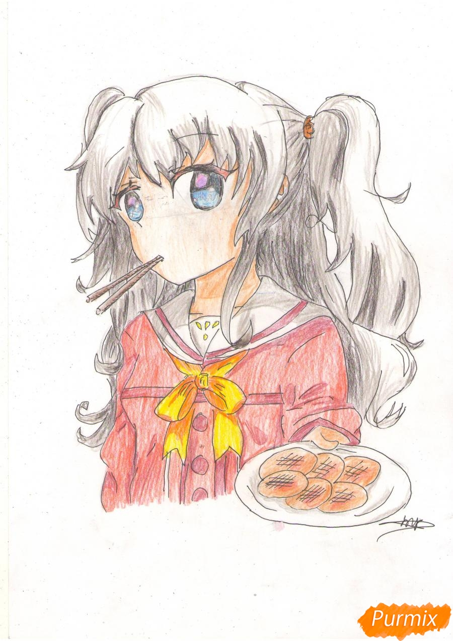 Как нарисовать Нао из аниме Шарлотта карандашами поэтапно
