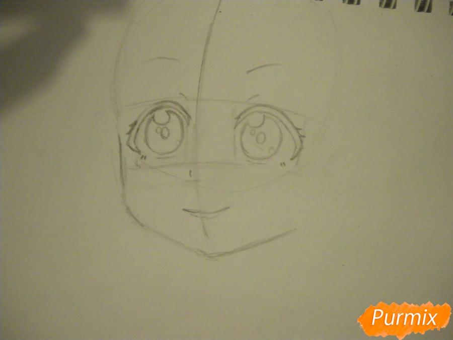 Рисуем Нико Ядзаву из аниме Love Live карандашами - шаг 2
