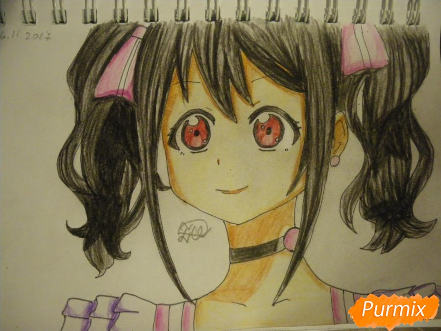 Рисуем Нико Ядзаву из аниме Love Live карандашами - шаг 8