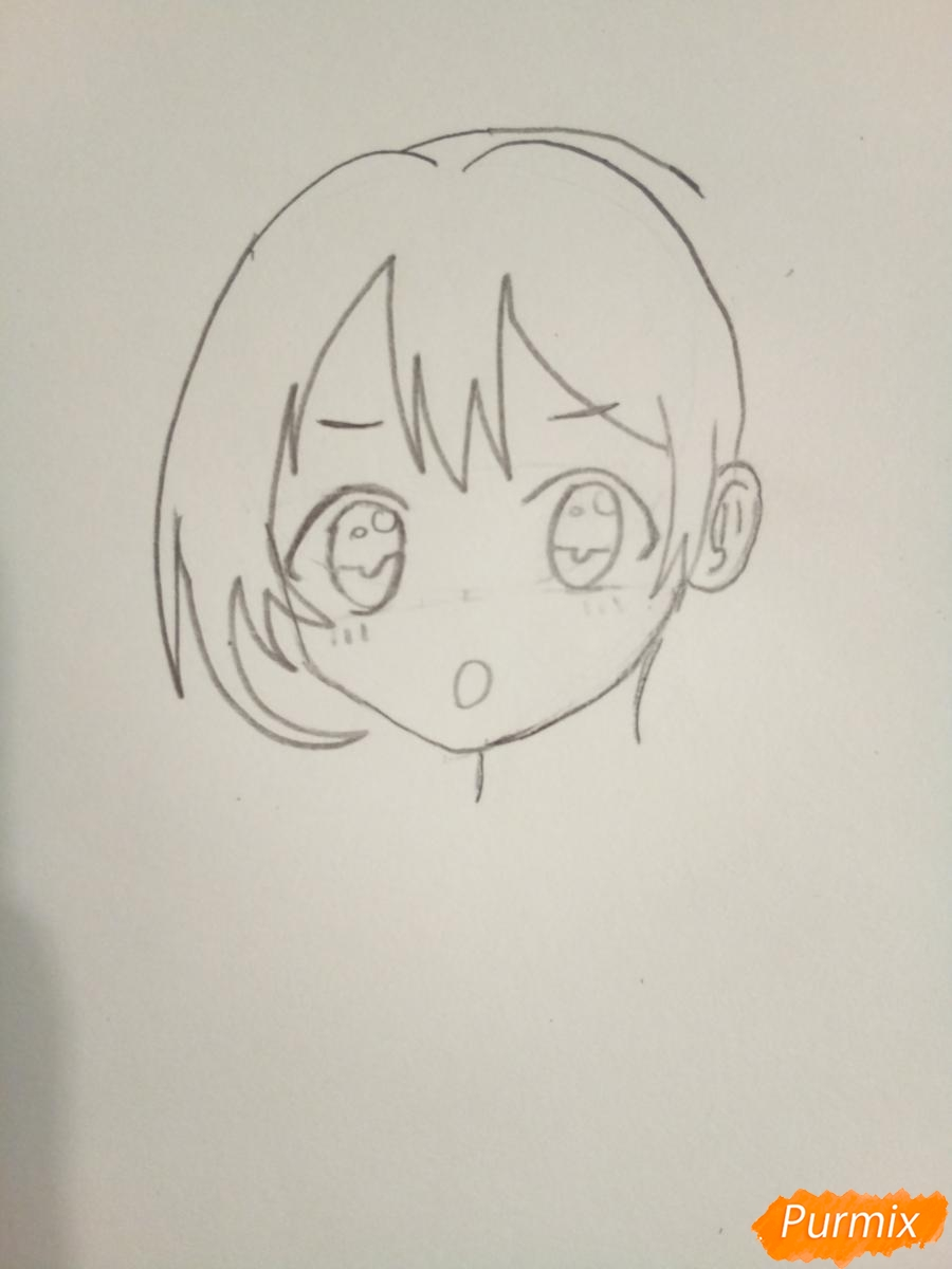 Рисуем Нико Ядзаву цветными карандашами - шаг 3