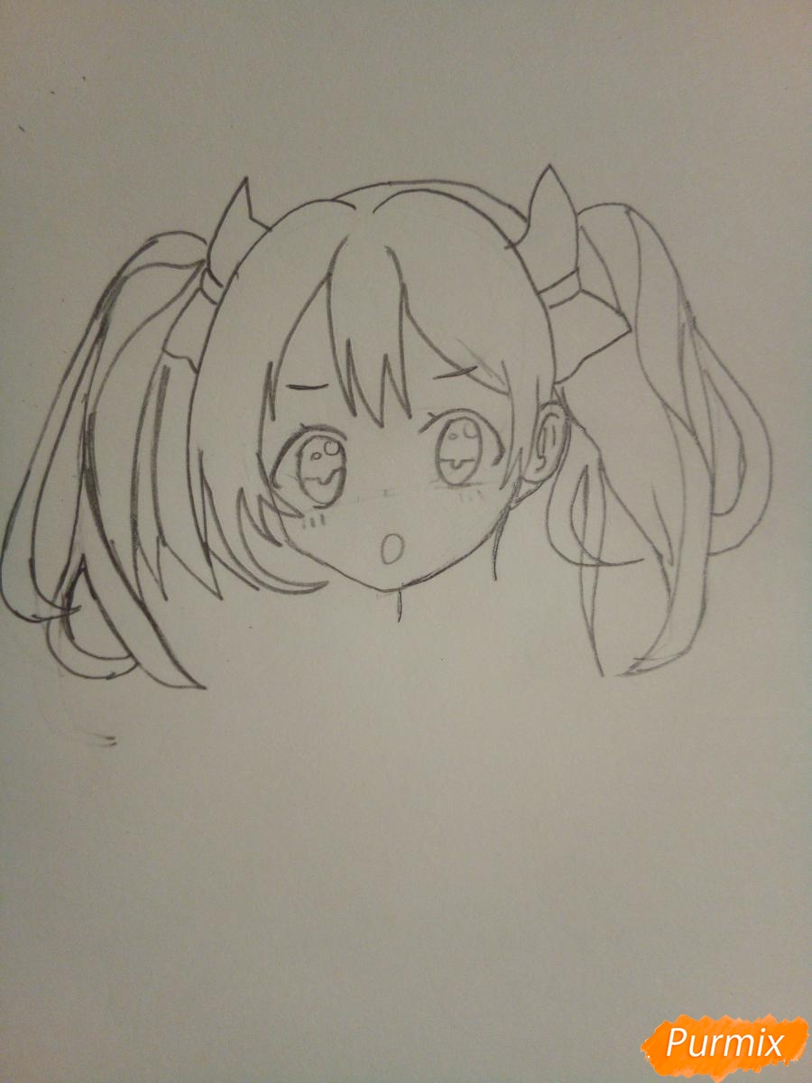 Рисуем Нико Ядзаву цветными карандашами - шаг 4