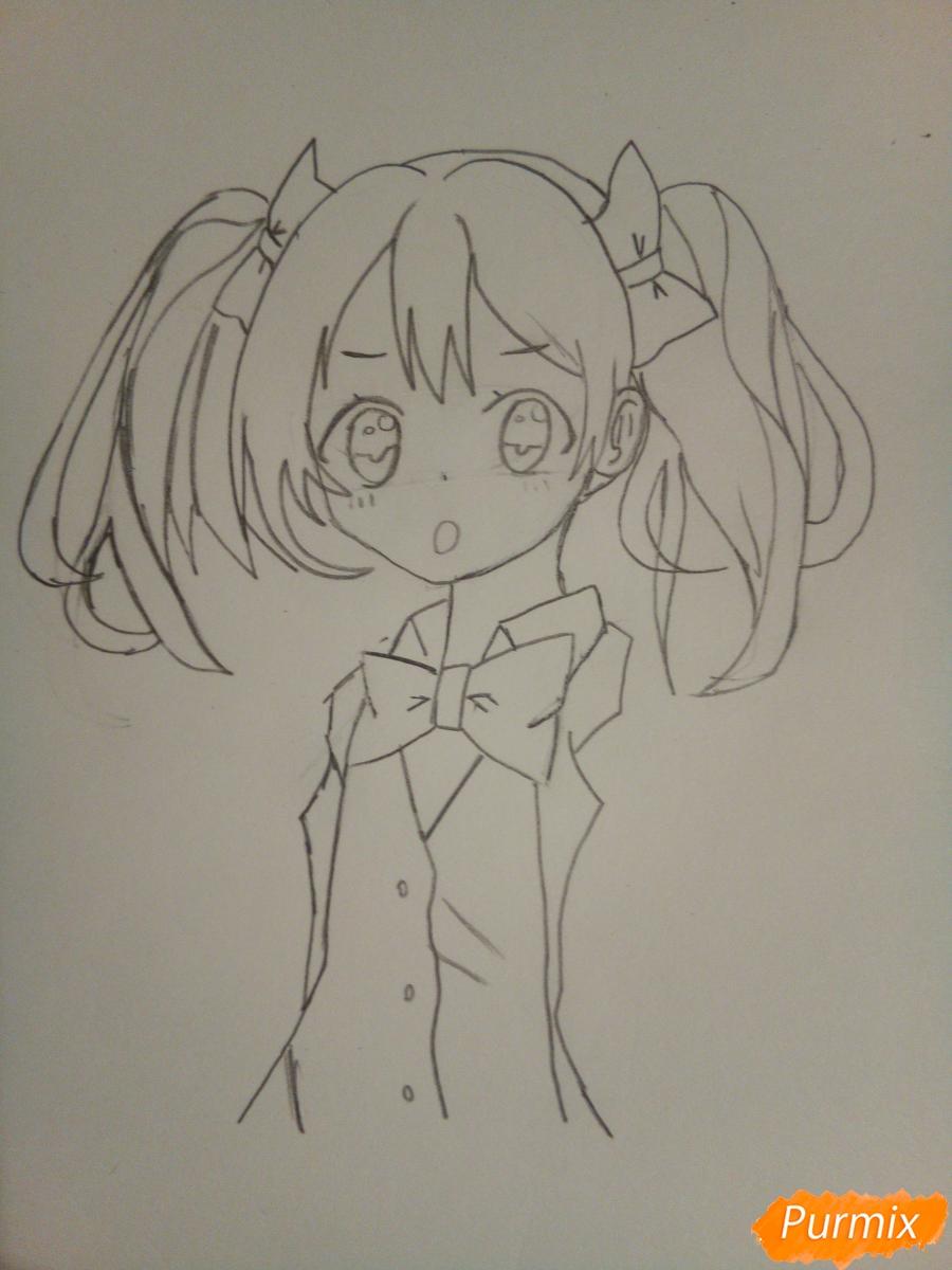Рисуем Нико Ядзаву цветными карандашами - шаг 5