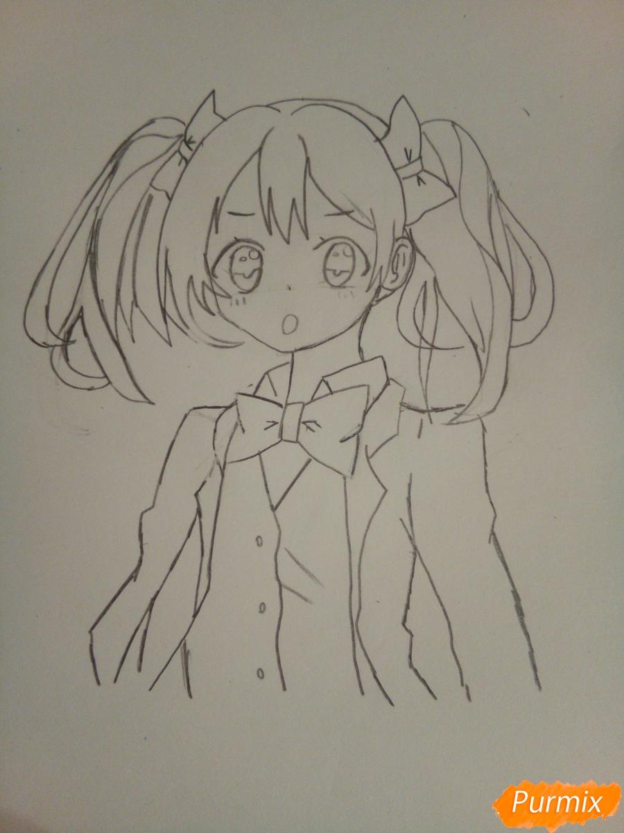 Рисуем Нико Ядзаву цветными карандашами - шаг 6