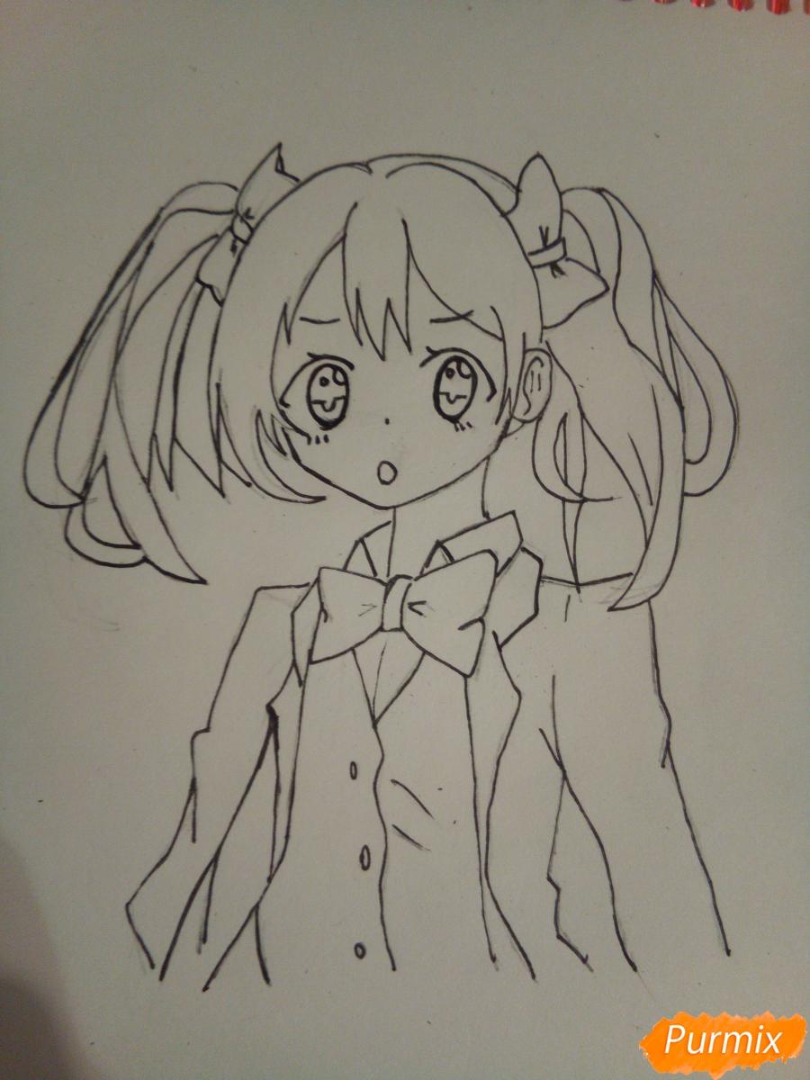 Рисуем Нико Ядзаву цветными карандашами - шаг 7