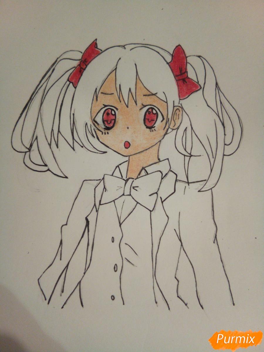 Рисуем Нико Ядзаву цветными карандашами - шаг 8
