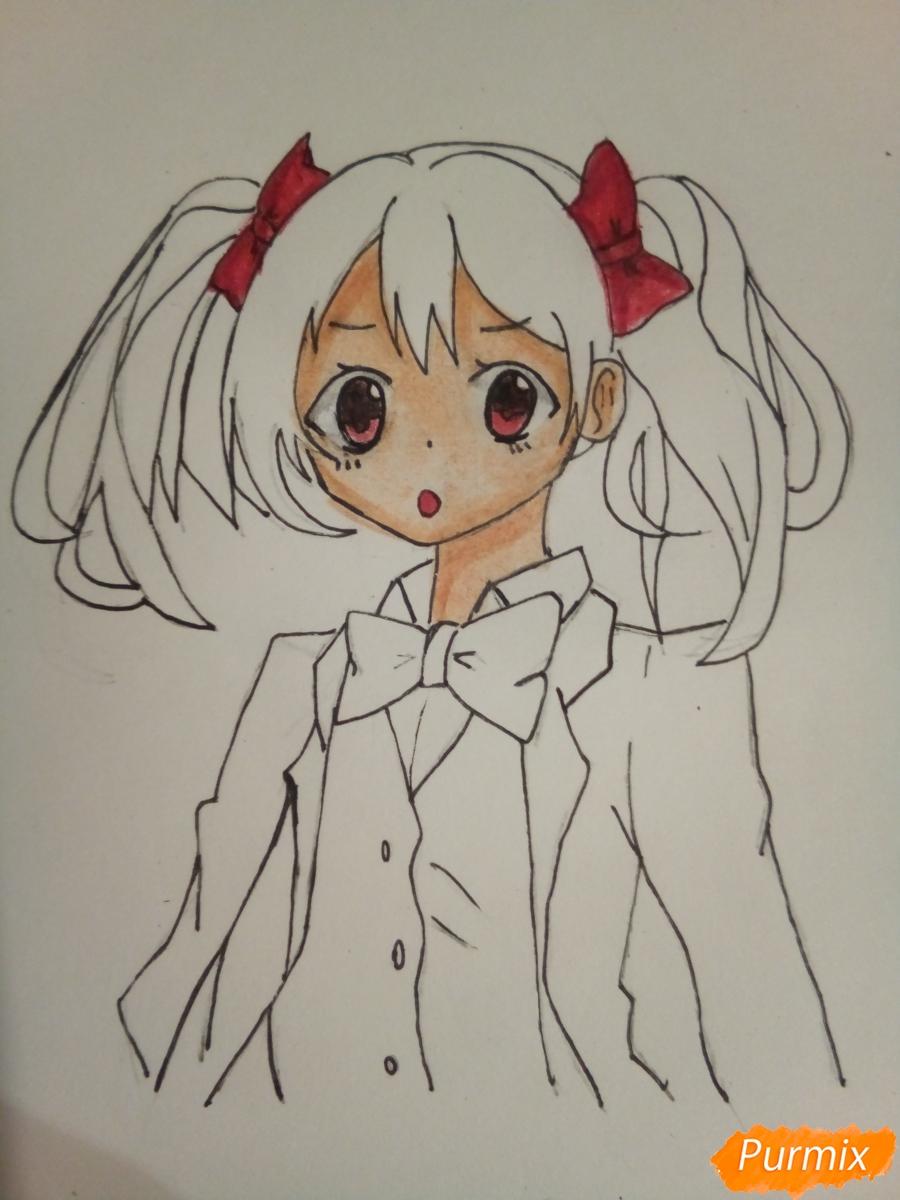 Рисуем Нико Ядзаву цветными карандашами - шаг 9