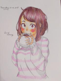 Рисунок Очако Урараку из аниме Моя Геройская Академия