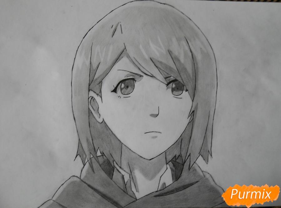 Как нарисовать портрет Петру из аниме Атака Титанов карандашами поэтапно