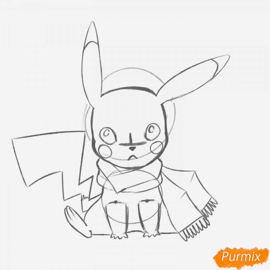 Рисуем Пикачу с шарфиком - шаг 8