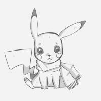 Фото покемона Пикачу с шарфиком карандашом