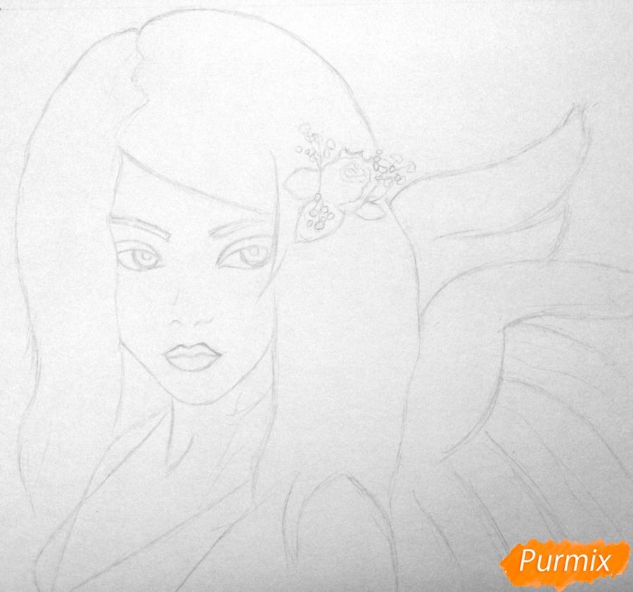 Рисуем портрет аниме девушки ангела простым - шаг 1