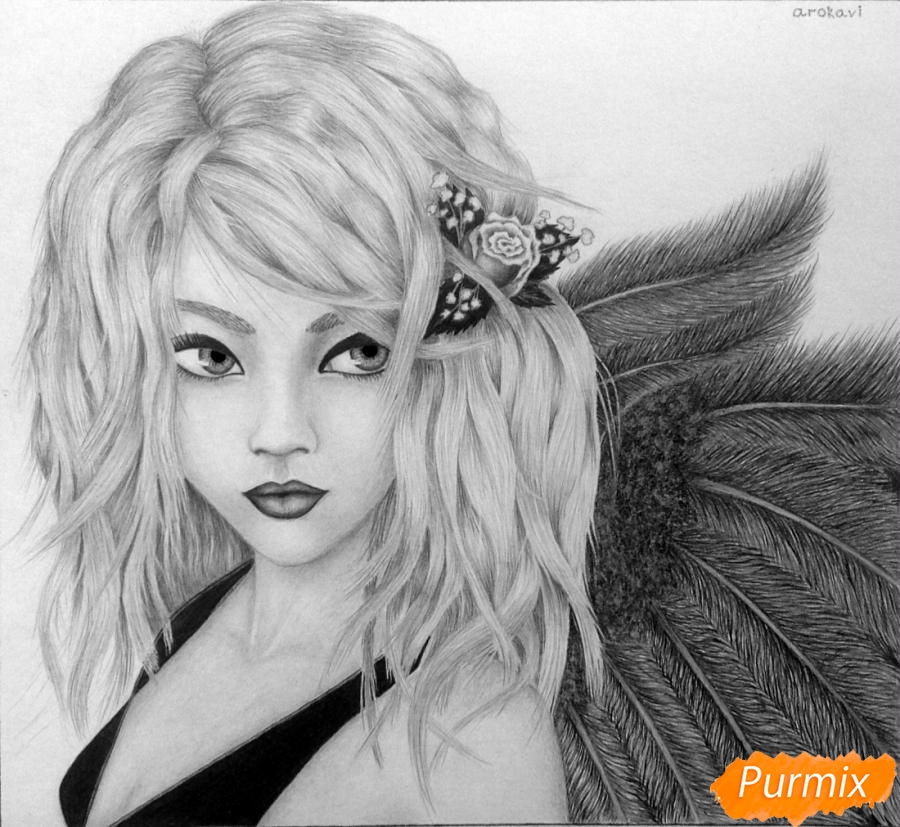 Рисуем аниме девушку ангела карандашами - шаг 10