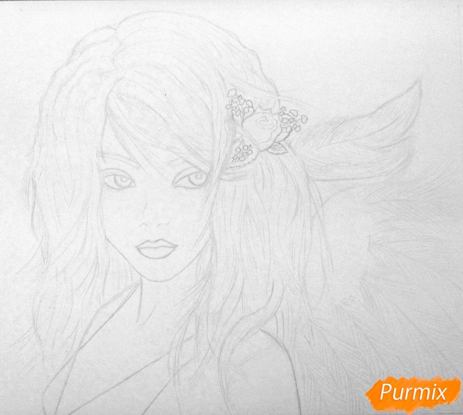 Рисуем портрет аниме девушки ангела простым - шаг 2
