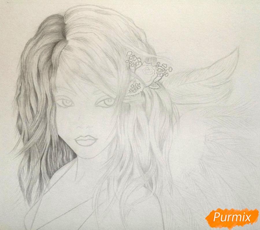 Рисуем портрет аниме девушки ангела простым - шаг 3
