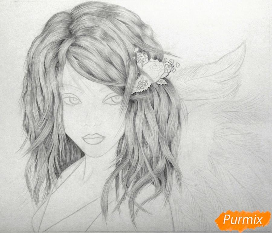 Рисуем аниме девушку ангела карандашами - шаг 4