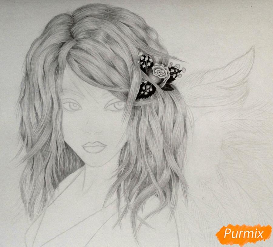 Рисуем аниме девушку ангела карандашами - шаг 5