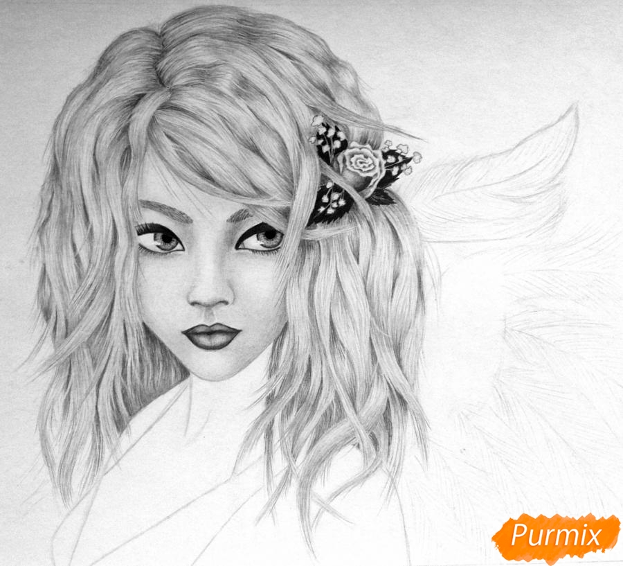 Рисуем портрет аниме девушки ангела простым - шаг 7